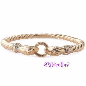 stella & dot chimera lion heads gold bangle